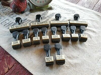 Vintage Office Rubber Stamps Partial Set Minus Feb And Sept Repurpose Art