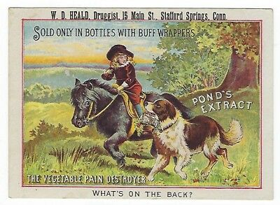Pond's Extract late 1800's medicine trade card - Stafford Springs, CT-W.D. Heald