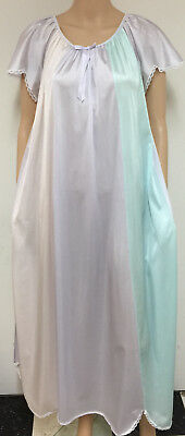 Vintage Beautiful Tri-Colored Sheer Nylon Scalloped Hem Long Flowing Nightgown S