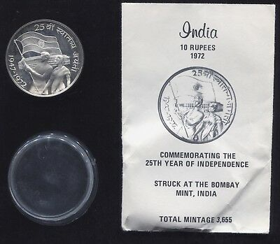 Rare Commemorative 1972 Indian Ten Rupees - 25th Anni of Independance - OGP