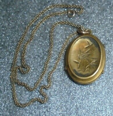 fine antique Victorian gold plated locket on chain