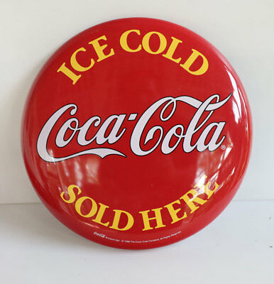 "1999 12"" Heavy Steel Ice Cold COCA COLA Sold Here Button Sign"