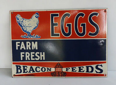FARM FRESH EGGS Porcelain Feed Sign with Chicken and Lighthouse