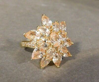 Vintage Goldtone Peach Iridescent Rhinestone Flower Cocktail Ring Size 8