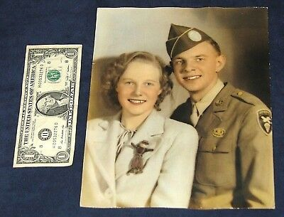 Original WWII US Army Paratrooper & Sweetheart Studio Photo 8x10 Color Tinted