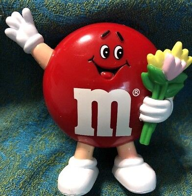M&M Red Candy Dispenser. Mars 1992. Holding Flowers.