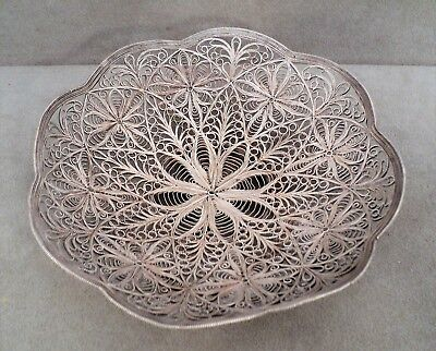 "Vtg STERLING SILVER FILIGREE Wire BOWL - Amazing Work 6"" Across - 148g - Estate"