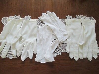 Three Pairs Of Vintage Ladies Gloves ~ Ivory & White in Color