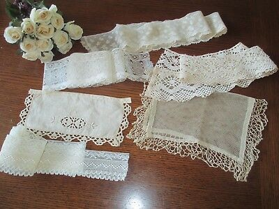 Lot of Antique Vintage Lace Trims Scraps Salvage - Estate- 6 plus yds