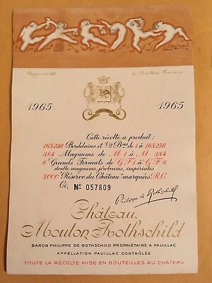 Wine Label / Etiquette Vin /France Mouton Rothschild ,1965 original No. 057809