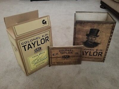 """Colonel E .H. Taylor Straight Kentucky Whiskey Wooden Crate 16"""" x 12"""" x 8"""" EMPTY"""