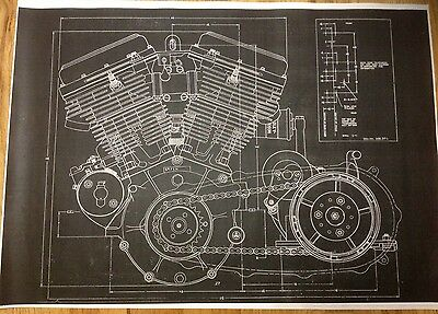 Harley Davidson Panhead Motor Blueprint Poster Print Picture Photo Beer Sign HD
