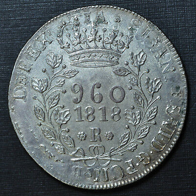 Brazil 1818-R 960 Reis, about uncirculated