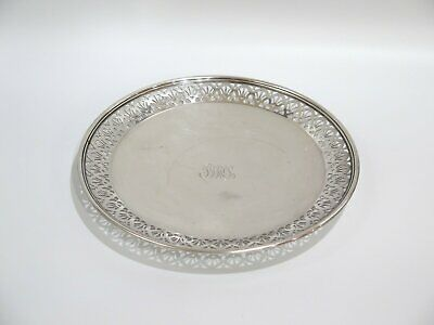 "9.5"" Sterling Silver Tiffany & Co Antique Art Deco Openwork Footed Serving Plate"