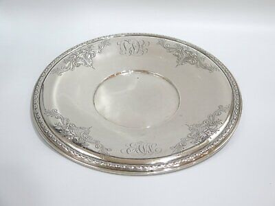 "13.75"" Sterling Silver Whiting Antique Fruit Decorated Large Round Serving Plate"