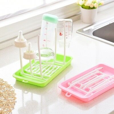 Baby Bottle Teat Drying Draining Rack Drain Tray Storage Organizer Dryer Drainer