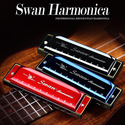 New Swan Harmonica 10 Holes Key of C for Blues Harp Rock Jazz Folk Harmonicas