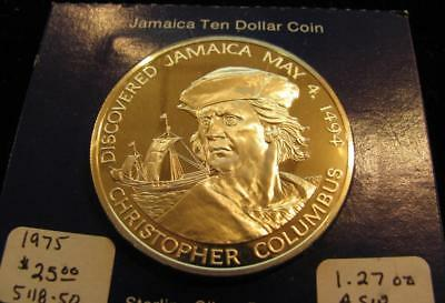 1975 Jamaica $10  Columbus GEM Cameo Proof 1.27  ASW (BK10)