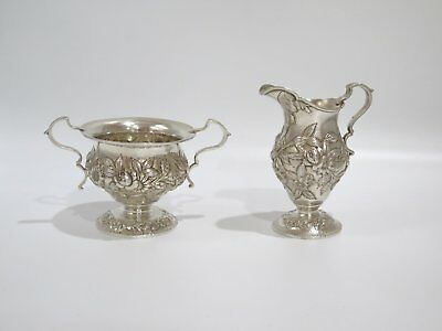 2 piece - Sterling Silver S. Kirk & Son Antique Floral Small Sugar & Creamer Set