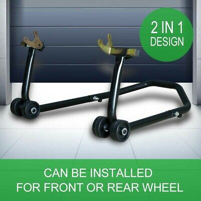 Heavy Duty Motorcycle Front & Rear Wheels Stand Bike Paddock Stand Race Lift