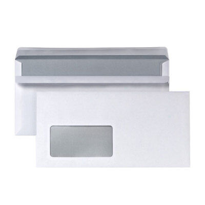 Envelope DIN Long Self Adhesive White Envelopes with Window 110x220mm