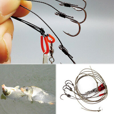 Hot 5 Hook Stainless Steel Rigs Swivel Fishing Tackle Lures Pesca Bait Fishhook