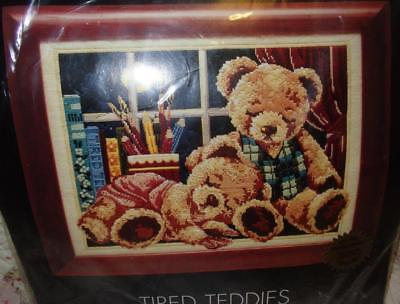 "New Unworked Dmc Long Stitch  Kit "" Tired Teddies ""coloured Canvas~40Cms X 30Cms"
