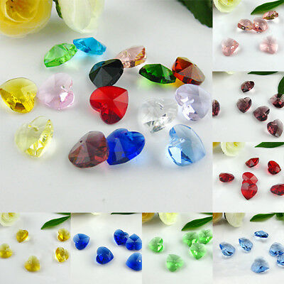 10pcs 14mm Heart Crystal Loose Beads Faceted Spacer Pendants Glass DIY Jewelry