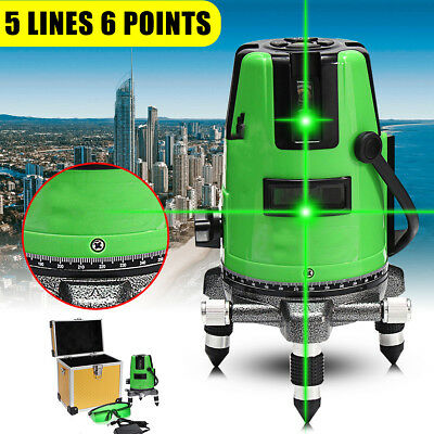 3D Green 360° Rotary Cross 5 Line Laser Level Self Leveling Measure Tools Kit