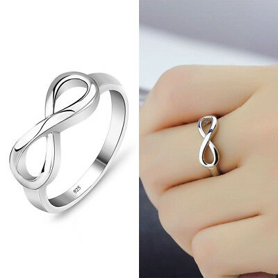 Fashion Women 925 Silver Plated Infinity Ring Endless Love Symbol Ring Size 5-10