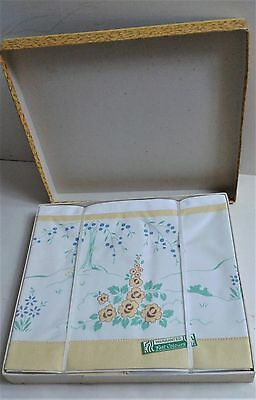 Vintage 1940`s Printed Floral Bolster Set. Boxed and Unused. 2 Pillows 1 Bolster