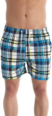 4673a0595d76 Camille Royal Blue Avenue Blue And Yellow Checkered Mens Swimming Shorts