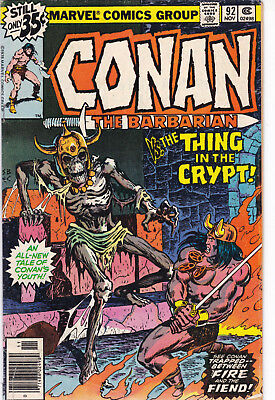 November 1978 Conan The Barbarian #92 Marvel Comics Thing In The Crypt!