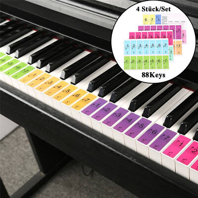 Removable 88-Key Electronic Keyboard Piano Key Note Stickers Labels for Beginner