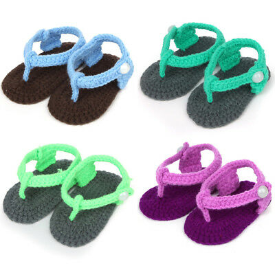 Sweet Colorful Baby Boy Girl Knit Crochet Handmade Casual Flip Flops Socks Shoes