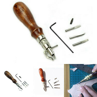 7 in 1 Multipurpose Leather Craft Tool Sew&Crease Leather Edge Beveler Tool MWUK