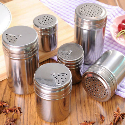 Stainless Steel Salt Pepper Shakers Sleek Pots Home Kitchen Tableware Gadget