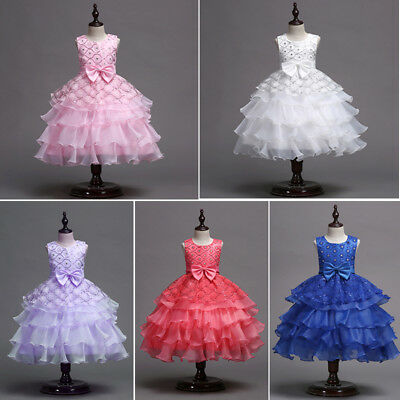 Flower Girl Dress Kids Baby Sequin Solid Tulle Tutu Dress Party Bridesmaid Dress