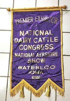 Ayrshire Cow dairy banner Vintage 1959 National DAIRY CATTLE SHOW Waterloo IOWA