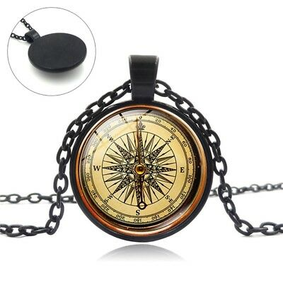 Round glass Cabochon Jewelry Steampunk Compass Pendant Vintage Necklace New