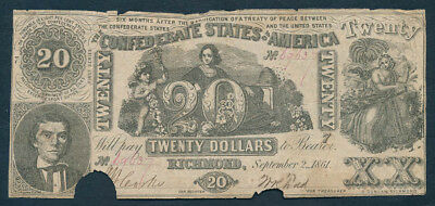 """USA: Confederate States 2-9-1861 $20 """"INDUSTRY, CUPID & BEEHIVE"""". Cat EF $333+"""