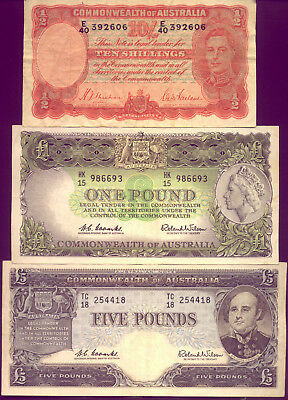 3 LOVELY PRE-DECIMAL NOTES  VF to EF+  NO RESERVE