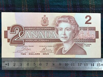 Canada $2.00 Two Dollars 1986 P#94a. Signature Crow, Bouey - Gem Unc