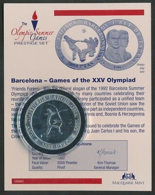 Spain: 1992 Barcelona Olympic Archer 2000 Ptas Silver Proof, Encapsulated w CoA