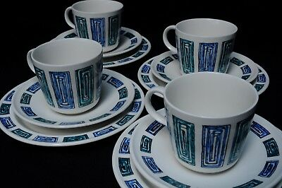 4 trios of Ridgway 'Onedine' cups,saucers,sideplates Gerald Benney design 1960's