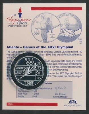 USA: 1995 $1 Atlanta Olympic Silver Proof Track & Field, Encapsulated with CoA