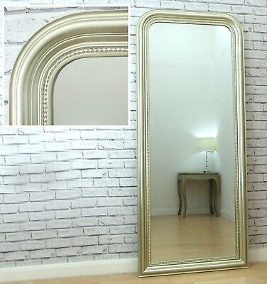 Lyon Champagne Beaded Frame Arched Full Length Leaner Wall Mirror 184cm x 80cm