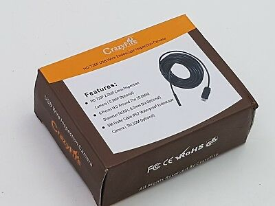 Boxed and unused Crazyfire HD 720P USB Wire Endoscope Inspection Camera