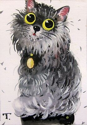 ACEO Original watercolor gouache  painting FUNNY CAT  toy illustration art