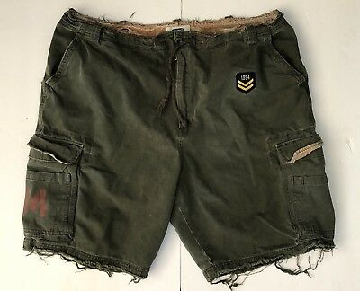 Old Navy Military Distressed Camouflage Camo Cargo Shorts Green Mens 44 Vintage